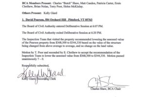 Town of Pittsford Board of Civil Authority – August 15, 2016