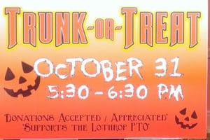 Annual Lothrop PTO Trunk or Treat, 5:30-6:30 pm